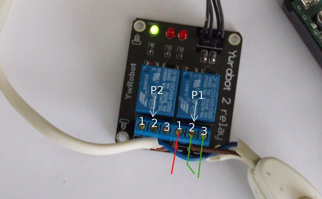 schemat podłączenia zasilania do modułu przekaźników