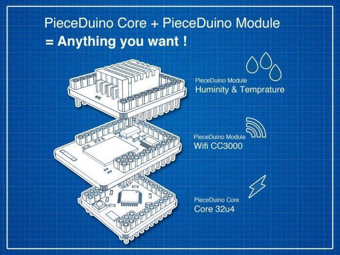 PieceDuino - przykładowy schemat zestawu