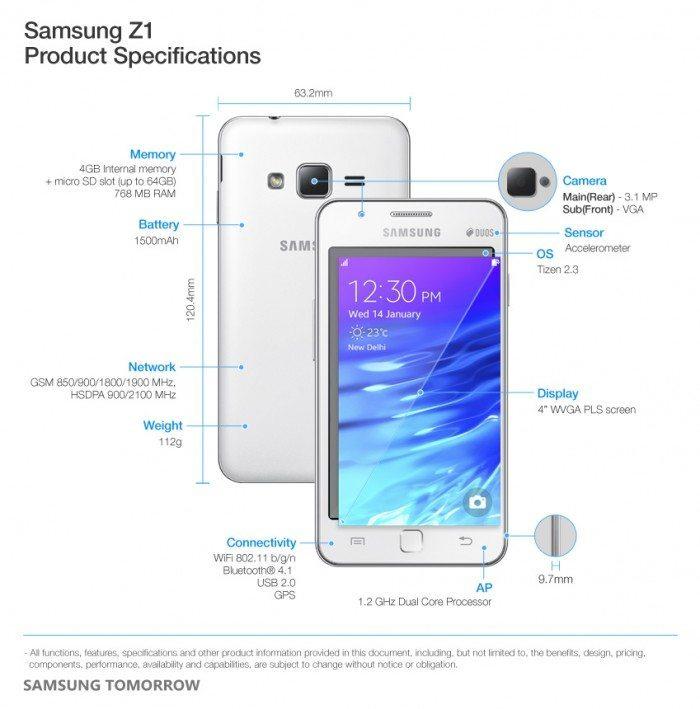 Samsung Z1 - specyfikacja