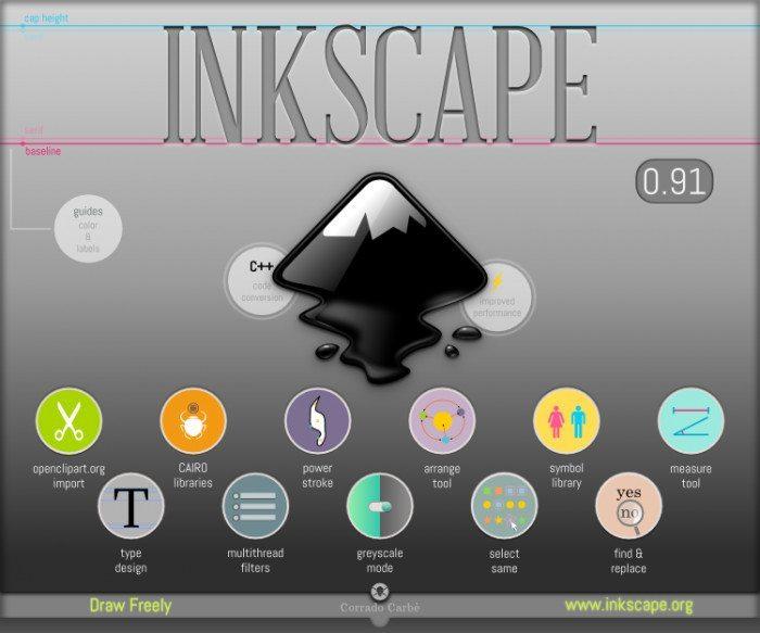 Inkscape 0.91 - ekran informacyjny