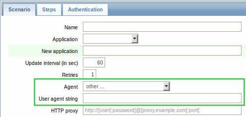 Zabbix 3.0.0 Beta -  opcje user agenta