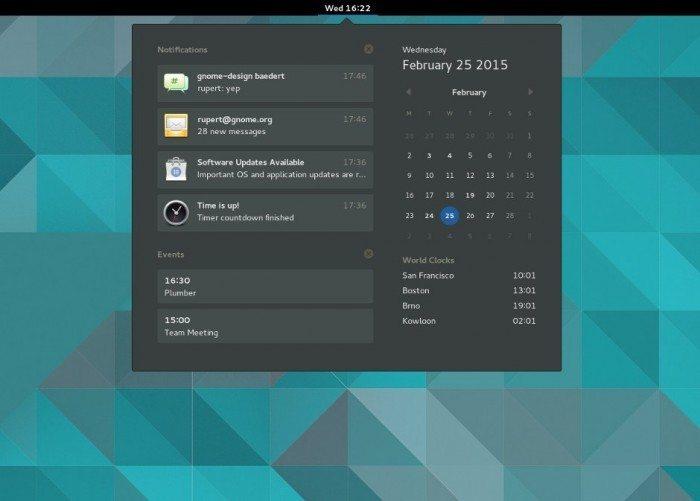 GNOME 3.16  - wysuwany kalendarz