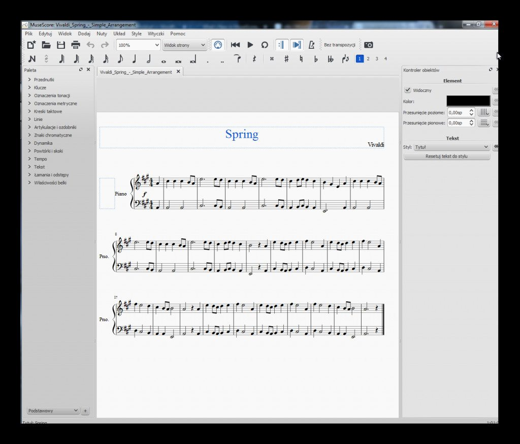 MuseScore 2.0 - wygląd interfejsu