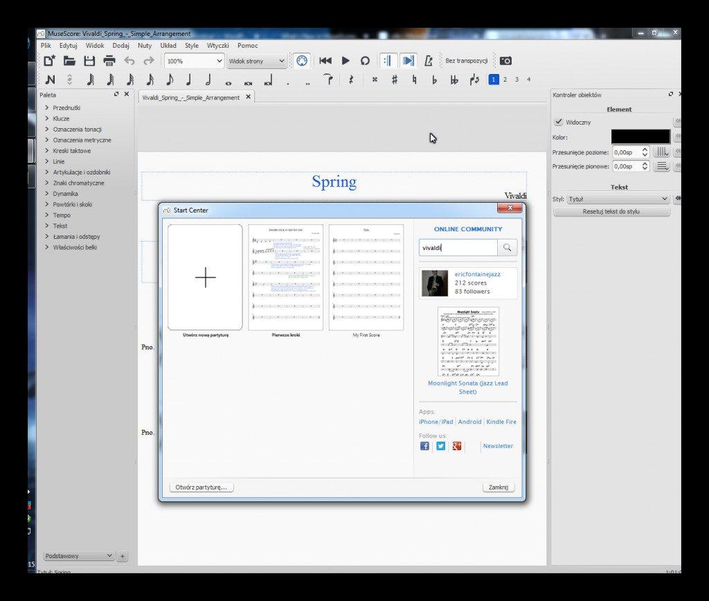MuseScore 2.0 - Centrum startowe i Kontroler obiektów