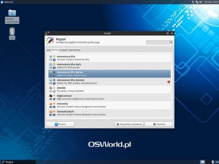 Xfce 4.12 - podgląd wyglądu ikon