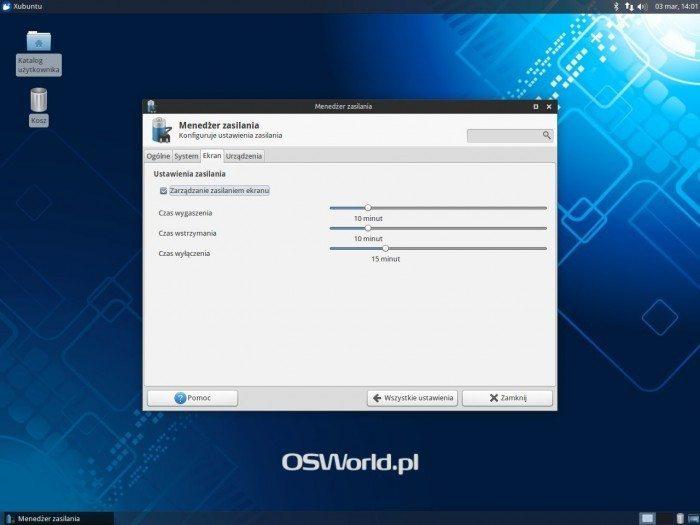 Xfce 4.12 - menedżer zasilania