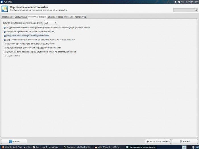 Xfce 4.12 - ukrywanie tytułu okna
