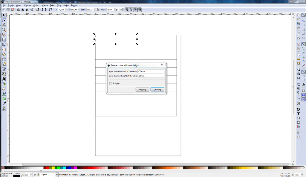 Inkscape Table Support - zmiana rozmiaru tabeli