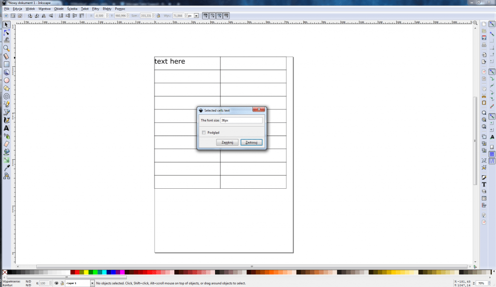 Inkscape Table Support - dodawanie tekstu