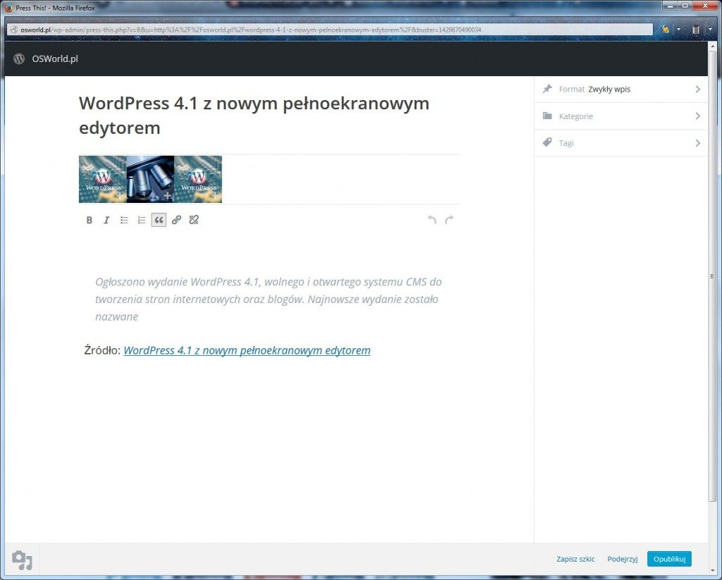 WordPress 4.2 - Press This