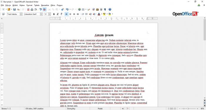 OpenOfficePL 2015 Writer