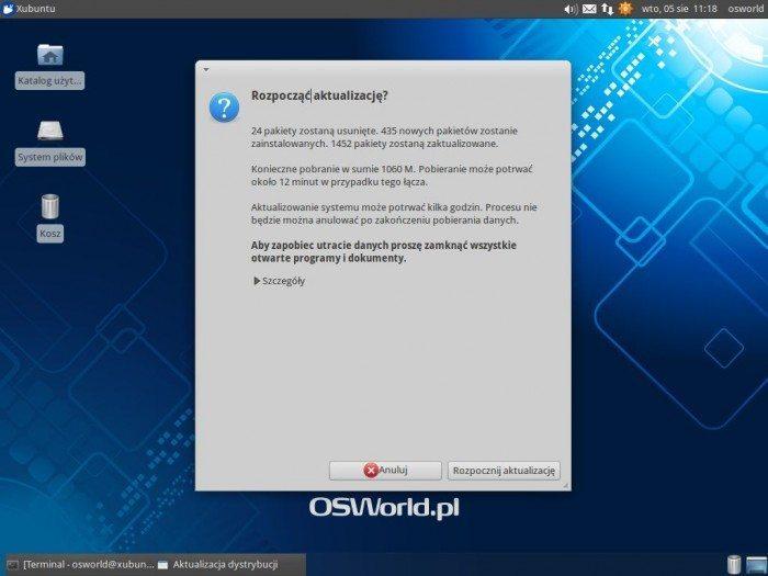 Aktualizacja Xubuntu 12.04 LTS do Xubuntu 14.04 LTS - rozpoczęcie aktualizacji