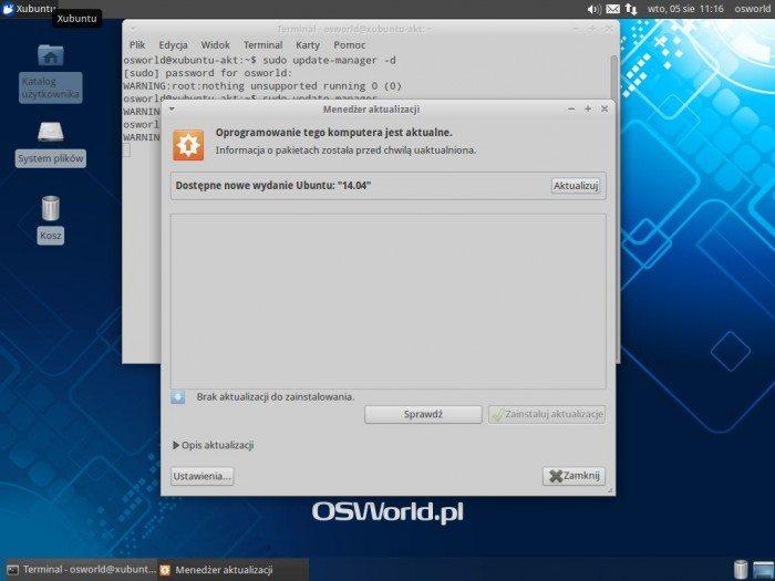 Aktualizacja Xubuntu 12.04 LTS do Xubuntu 14.04 LTS - uruchamianie aktualizacji