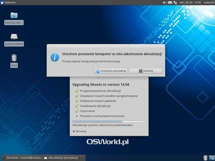 Aktualizacja Xubuntu 12.04 LTS do Xubuntu 14.04 LTS - zakończenie aktualizacji