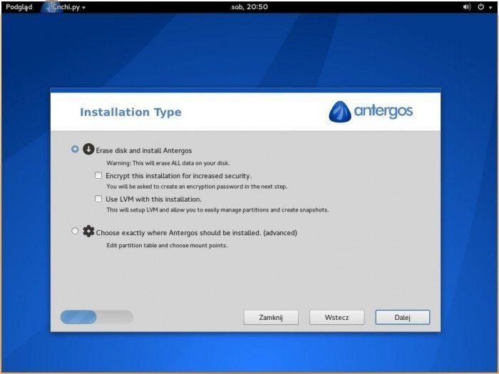 Antergos 2013.11.17 - tryb instalacji