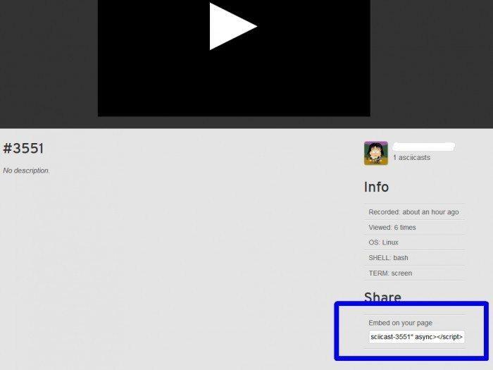 Ascii.io -  osadzanie wideo na stronie