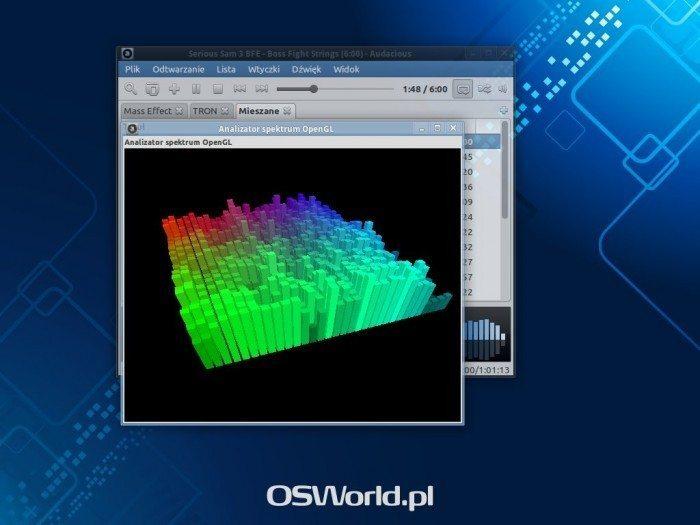 Audacious 3.4 - trójwymiary analizator spektrum OpenGL