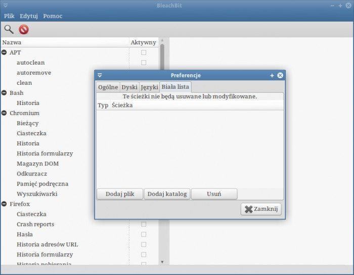 BleachBit - usuwanie zbędnych plików z systemu - Preferencje - Biała lista