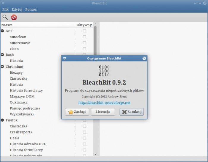 BleachBit - usuwanie zbędnych plików z systemu - wersja