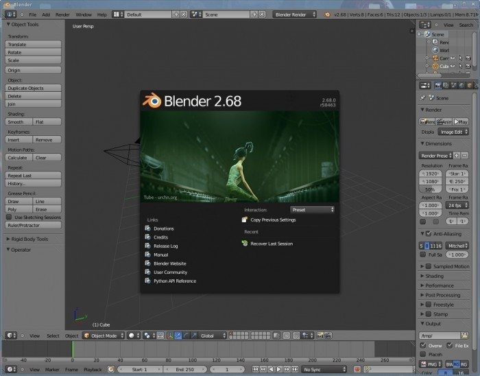 Blender 2.68 - ekran startowy