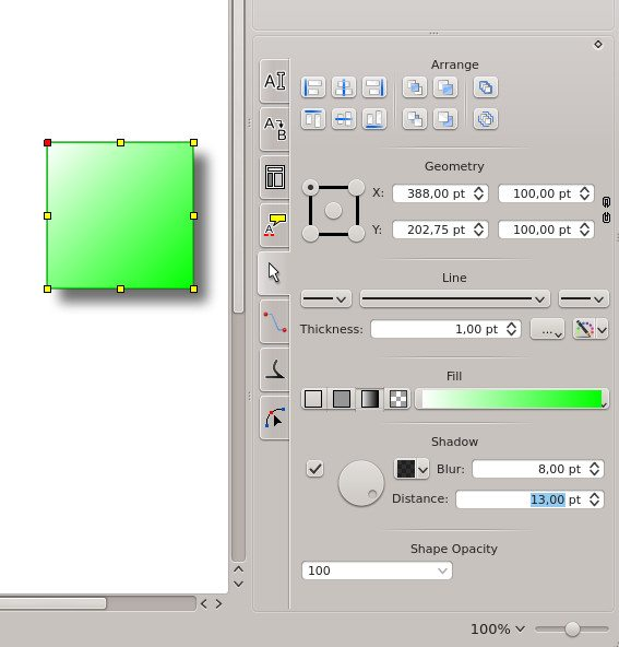 Calligra 2.7 - nowy edytor kształtów