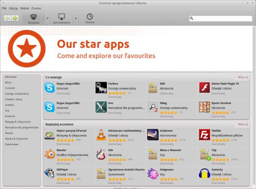 Centrum Oprogramowania Ubuntu - 64 bitowy Flash