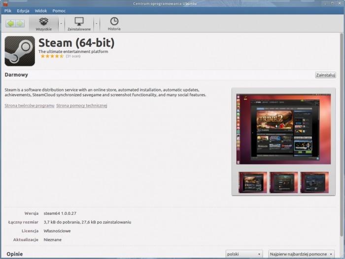 Centrum Oprogramowania Ubuntu - Steam