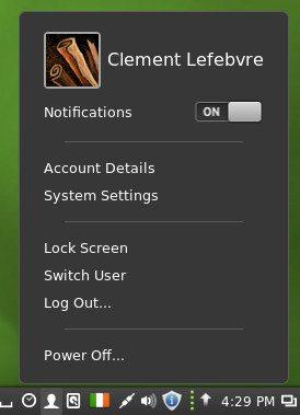 Cinnamon 2.0 - Aplet użytkownika