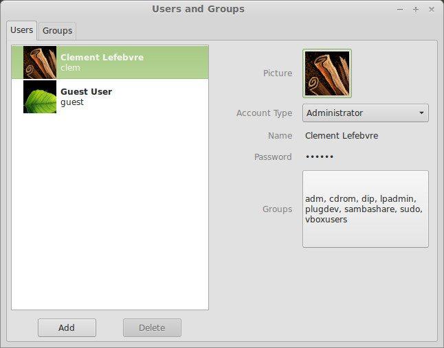 Cinnamon 2.0 - Użytkownicy i grupy