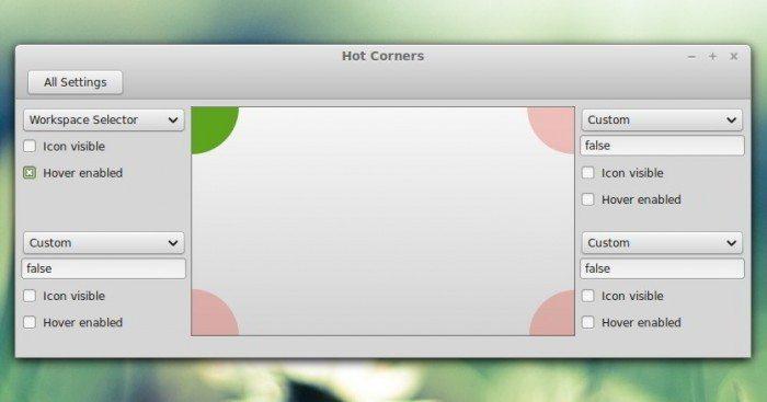 Cinnamon 2.2 - konfiguracja rogów ekranu