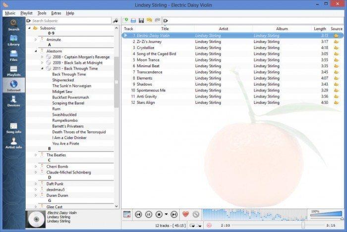 Clementine 1.2 - boczna zakładka listy odtwarzania