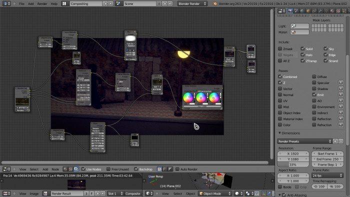 Czy Blender to darmowa zabawka - interfejs użytkownika - node editor