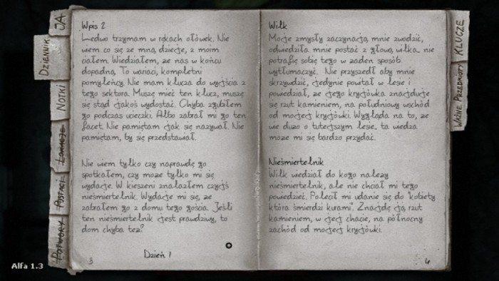 Darkwood - Dziennik, w którym bohater zapisuje wspomnienia i informacje o postaciach