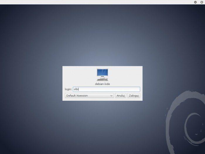 Debian 7.0 LXDE - logowanie