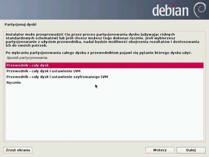 Debian 7.0 Wheezy - instalator - partycjonowanie dysków