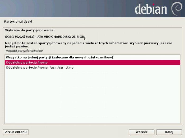 Debian 7.0 Wheezy - instalator - wybór rodzaju partycjonowania