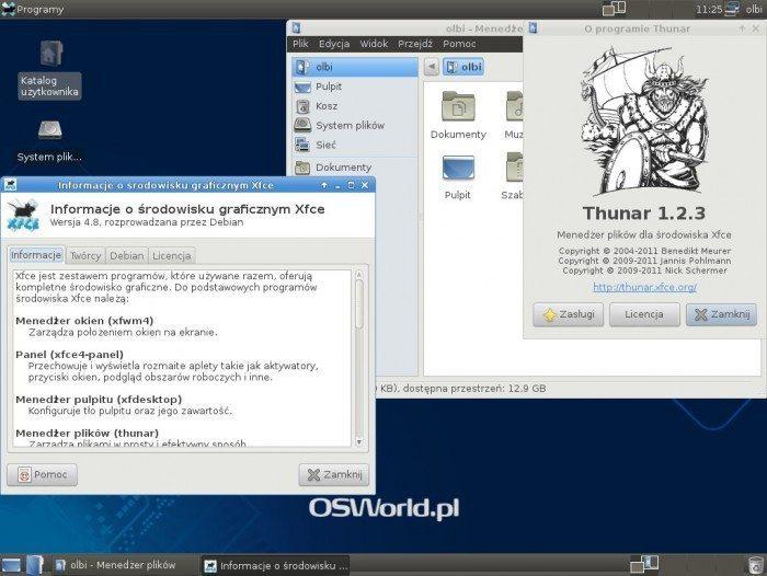 Debian 7.0 Xfce 4.8 - wersja Xfce i Thunara