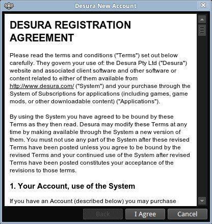 Desura - rejestracja konta