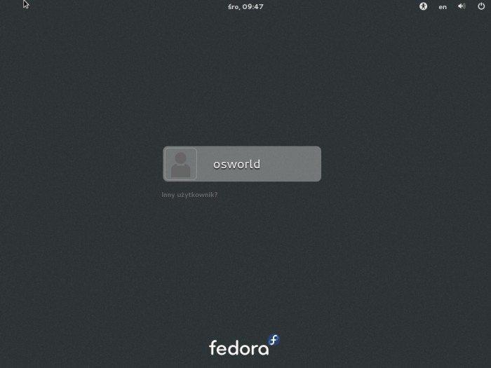 Fedora 19 - ekran logowania, wybór użytkownika