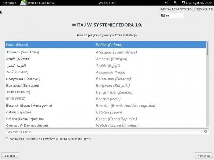 Fedora 19 - instalacja, wybór języka