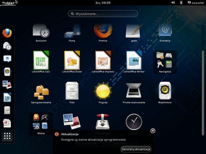 Fedora 19 - pogrupowane aplikacje