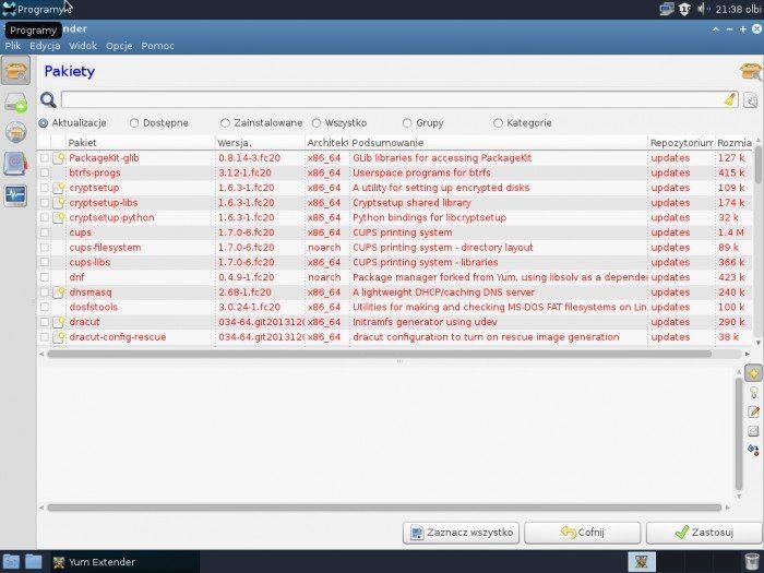 Fedora 20 Xfce - Yum Extender