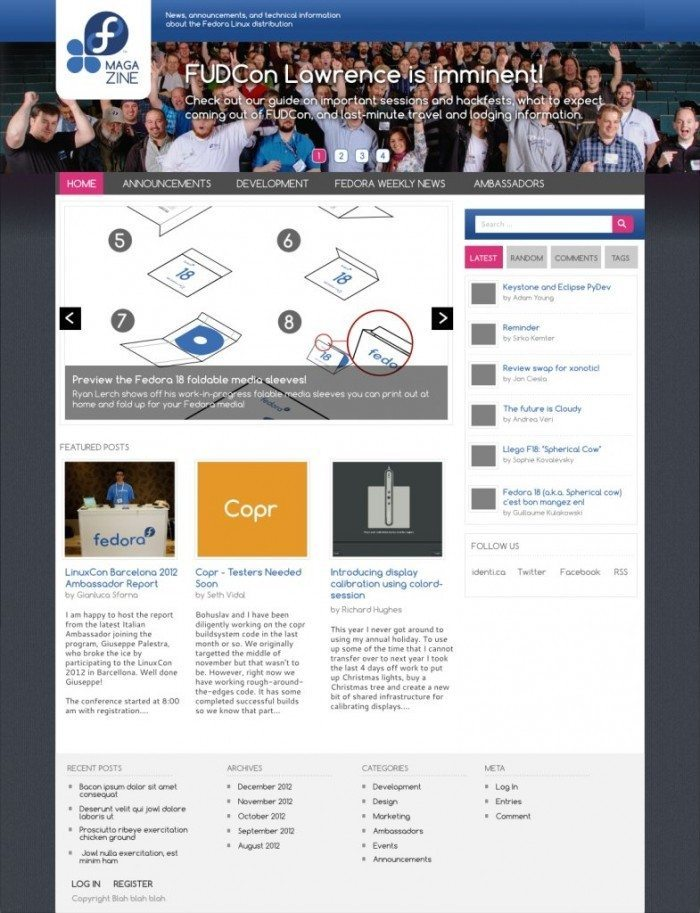 Fedora Magazine - planowany wygląd