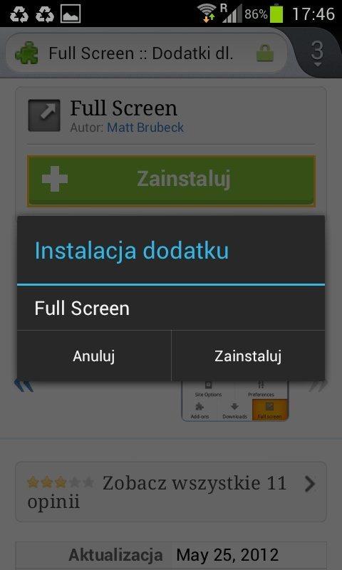Firefox 14 dla Androida - instalacja dodatku