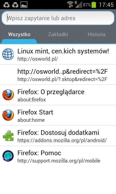 Firefox 14 dla Androida - wyszukiwanie