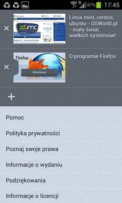 Firefox 14 dla Androida - zakładki