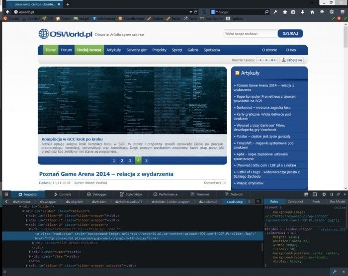 Firefox Developer Edition - Page Inspector