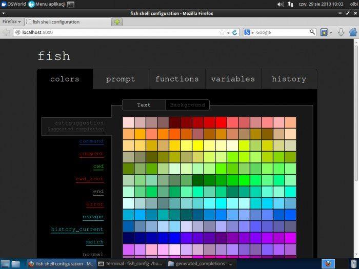 Fish Shell - konfiguracja przez przeglądarkę
