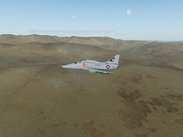 FlightGear 2.12 - Myśliwiec lecący nad Sinai. Nowe tekstury Bliskiego Wschodu