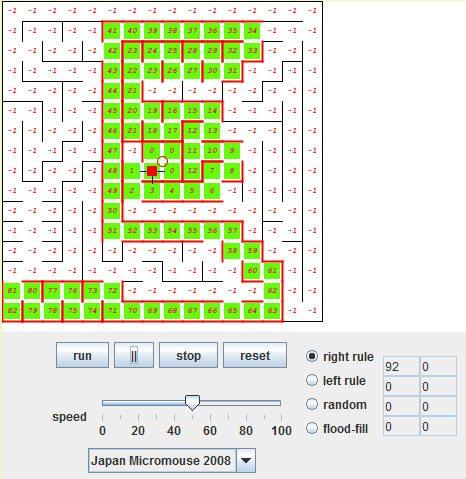 Flood Fill - Labirynt rozwiązany algorytmem wykorzystującym regułę prawej ręki
